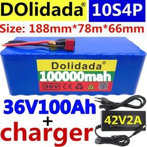 Battery-Pack Ebike 42v2a-Charger Electric-Bike-Bms 100ah High-Power 10S4P 1000W 36V Original