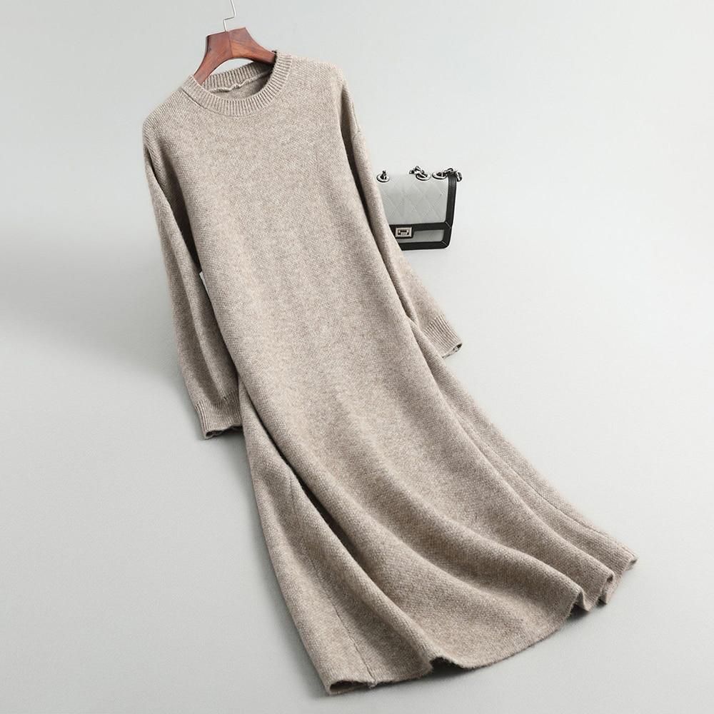 2019 Knitted Autumn Women Sweater Dress Loose Style O-Neck Long Sleeve Women Pullovers Long Dress Women Sweater Dress Pull Femme