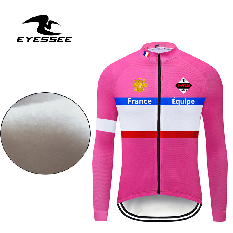 Cycling Jersey Team Long-Sleeve Fleece Winter Warm Men EYESSEE Men's