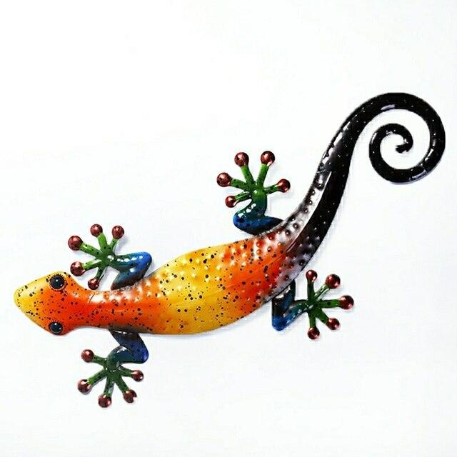 Metalowy gekon dekoracja ścienna zwierzęta zewnętrzne do dekoracji ogrodu posągi i miniaturowe akcesoria ogrodowe rzeźby