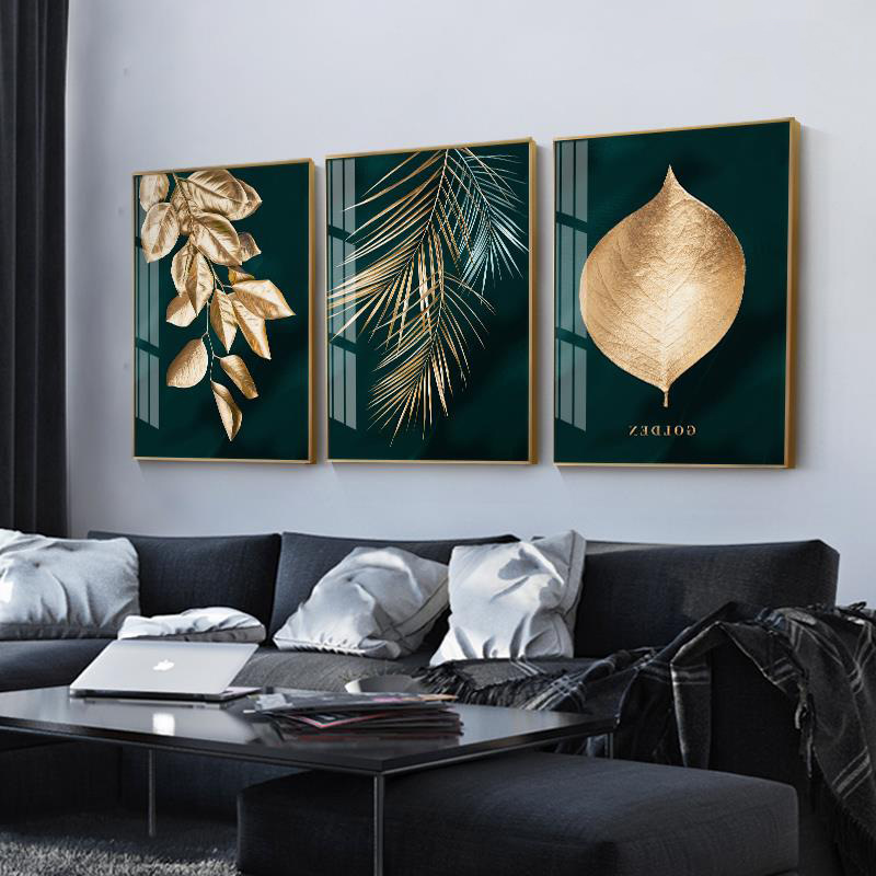 Branded Golden Plant Leaves Wall Art Canvas Print Painting Modern Unique Poster