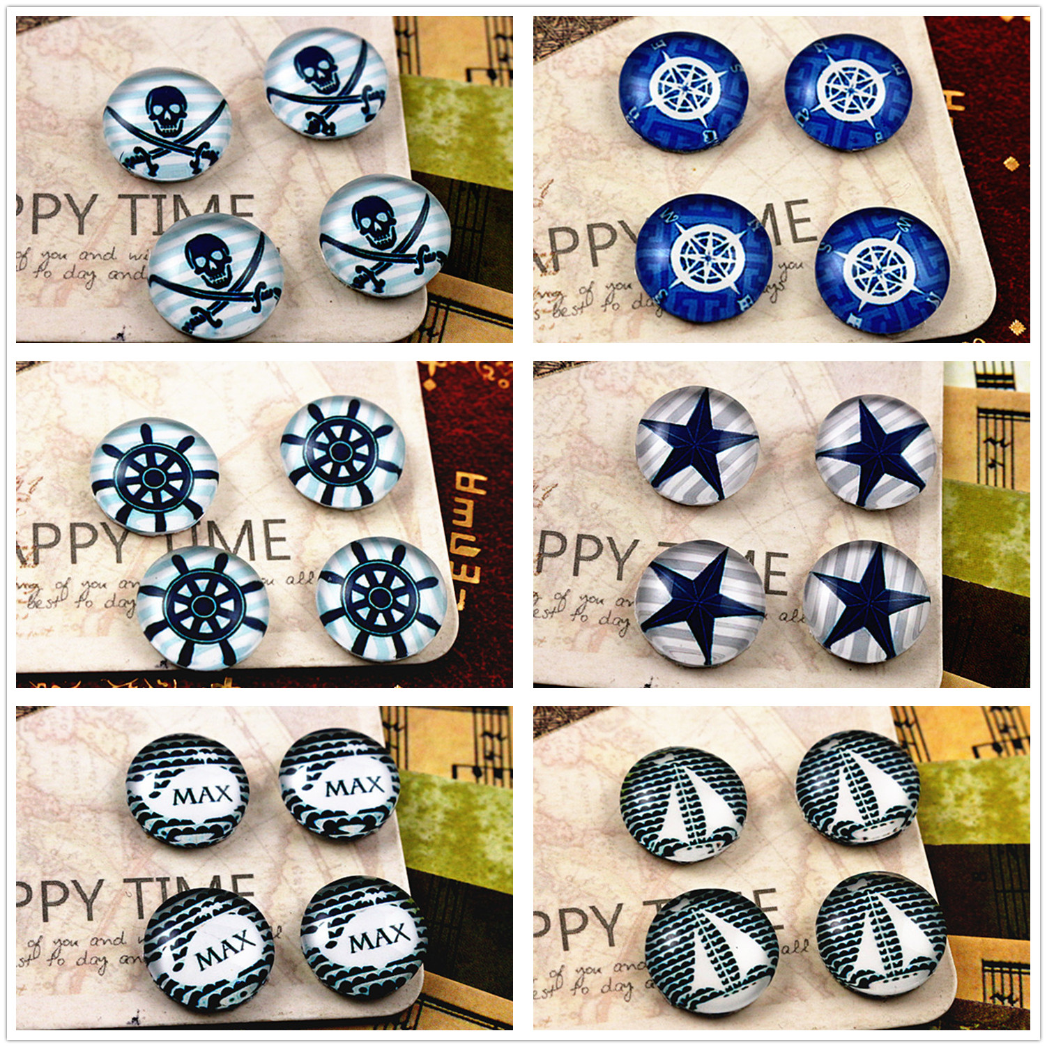 New Fashion  20pcs 12mm Handmade Photo Glass Cabochons (Star)