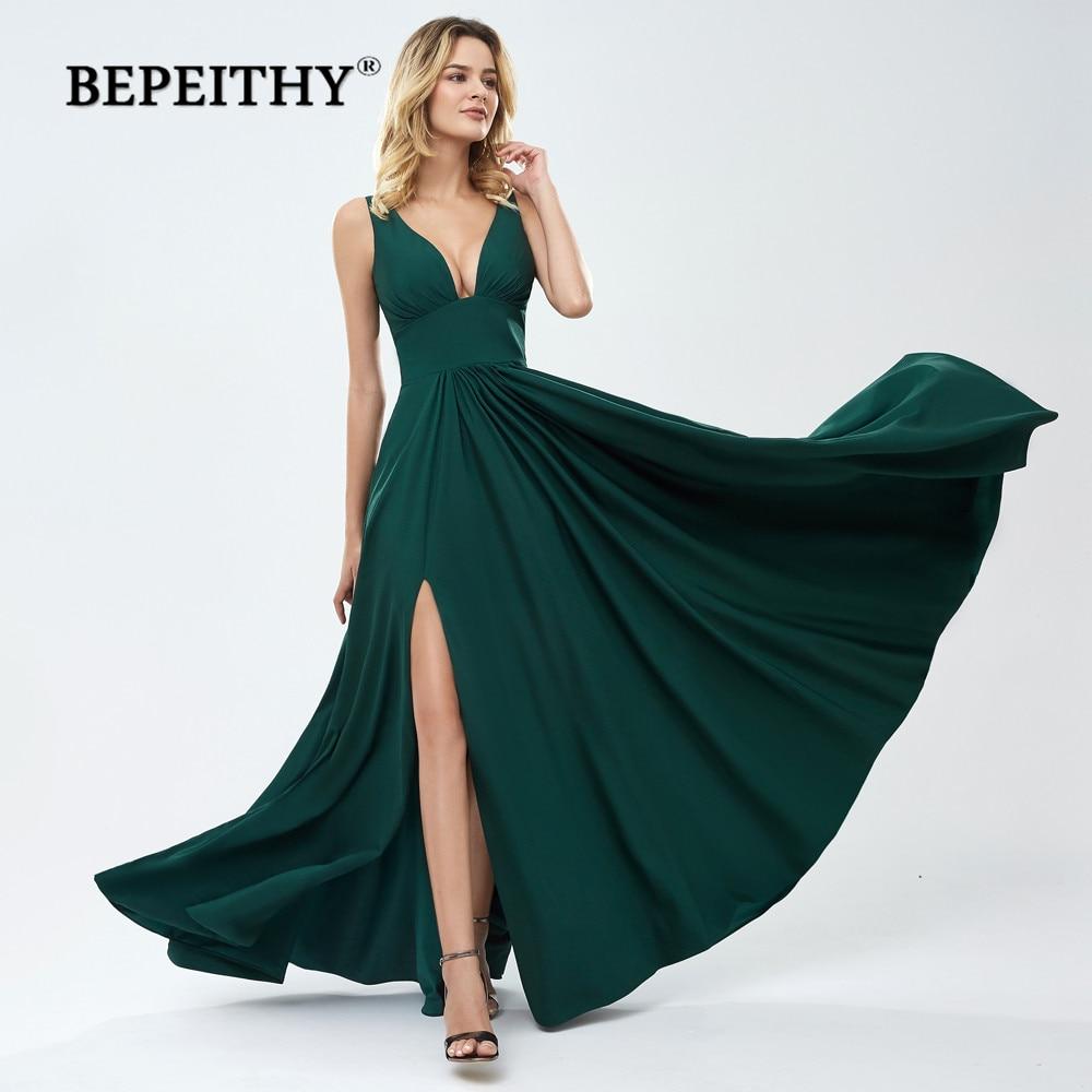 BEPEITHY Vestido De Festa Green Long Prom Dresses 2019 Sexy Deep V Neck Evening Dress Party Gown With Slit