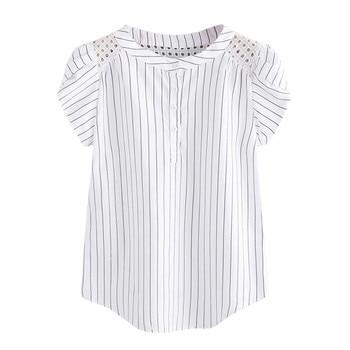 Camiseta informal Jaycosin de talla grande con cuello redondo calada de mariposa de verano para mujer, cómoda Camiseta de manga corta 64