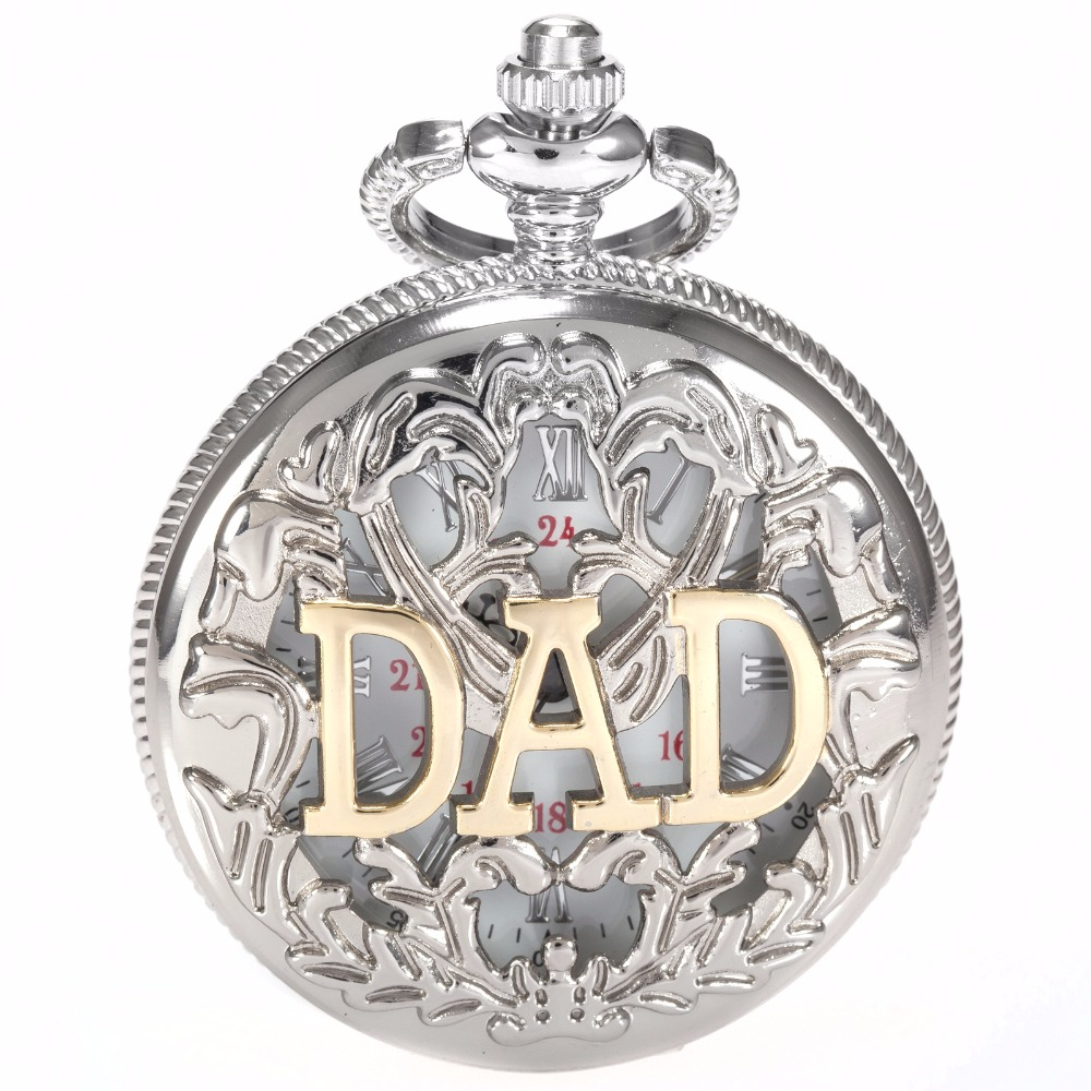 KS Silver Hollow Hunter White Dial Pendant Rome Number Men Lady Pocket Quartz Watch Necklace Father's Day DAD Gift / WPK050
