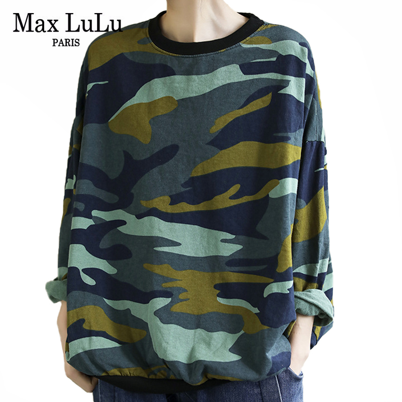 Max LuLu New 2020 Spring Fashion Ladies Vintage Tee Shirts Womens Loose Camouflage Tshirts Casual Cotton Tops Clothes Plus Size
