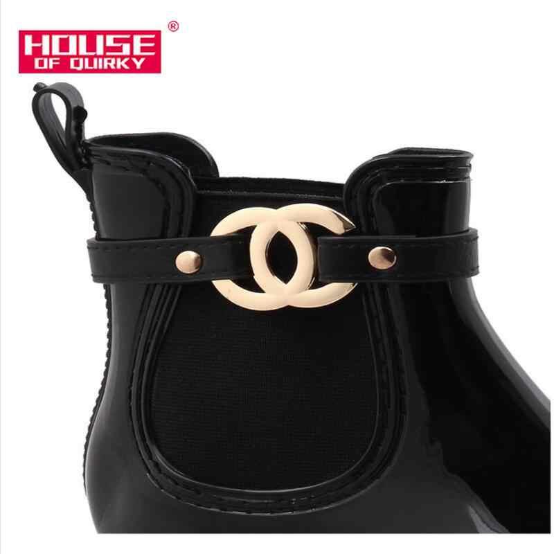 Yeni kauçuk ayakkabı kadın yağmur çizmeleri kızlar bayanlar için yürüyüş su geçirmez PVC kadın botları kış kadın ayak bileği Martins Rainboots 36-41
