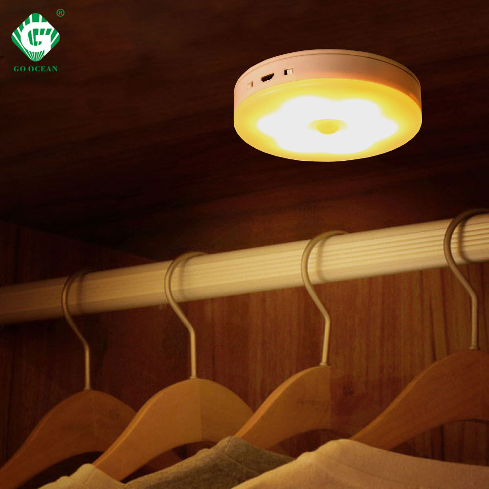 Rechargeable Battery LED Under Cabinet Light 5V PIR Motion Sensor Puck Night Lamp Wardrobe Closet Bedroom Kitchen Wall Lights