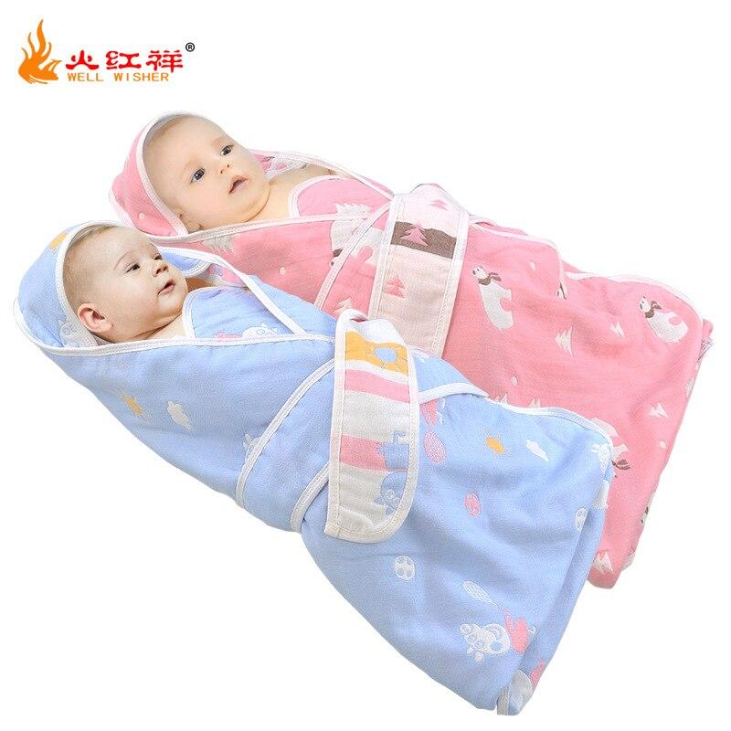 Part Area Cotton Children's Quilt Six-layer Hooded Thick BABY'S BLANKET Cotton Cartoon Infants Sleeping Bag Towel Blanket