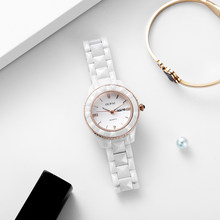 OUPAI 2020 New Arrival White Ceramic Watch Women Simple Fashion Waterproof Luxury Watch Lady Diamond Cut Ceramic Double Calendar