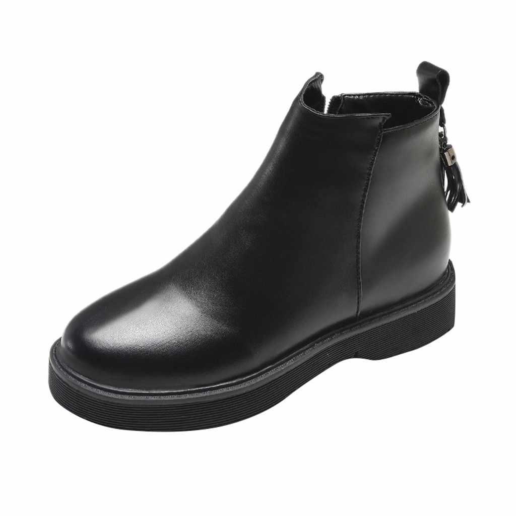 Kadın deri çizmeler Saçaklı kısa çizmeler Moda Yuvarlak Ayak Fermuar yarım çizmeler kadınlar için platform ile chaussures femme