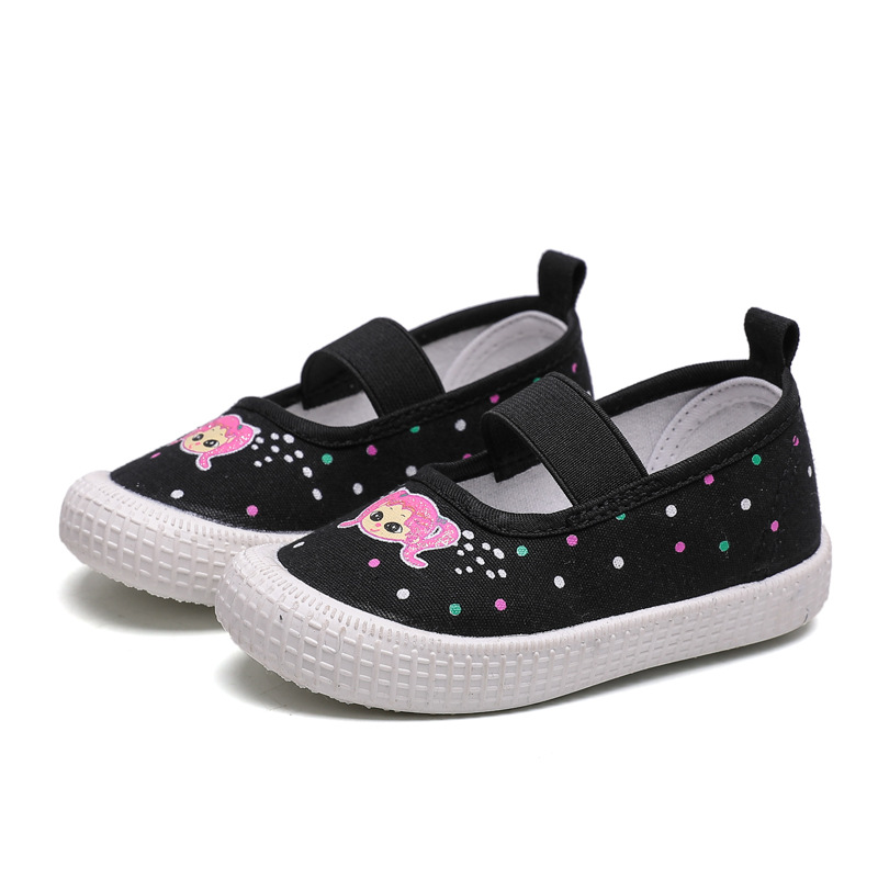 Girls Canvas Shoes Toddlers Baby Girl Kids Shoes Fashion Cute Girlish Children Sneakers Flats Pink Black Cartoon Prints With Dot