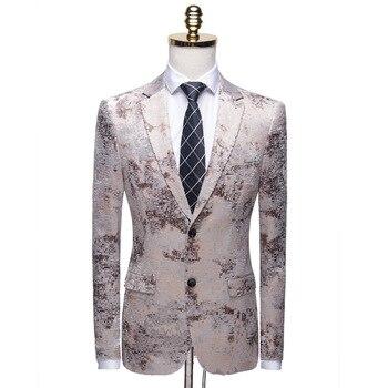 Fashion Single button Men Stylish Suit Jacket night club Blazer Slim Masculino Wedding Prom casual Blazers dance clothes