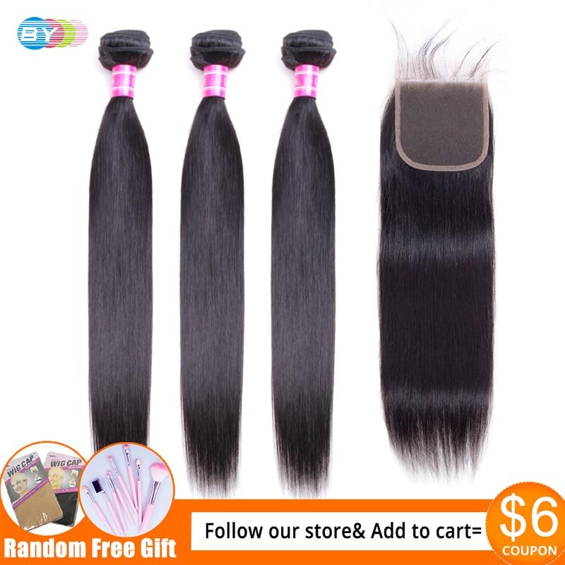 Hb3e8f9acb23648a6a7c84f2e031ff055S [BY] Straight Hair Bundles With Closure Natural Human Hair 3 Bundles With Closure Brazilian Hair Weave Bundles 4x4 Swiss Lace