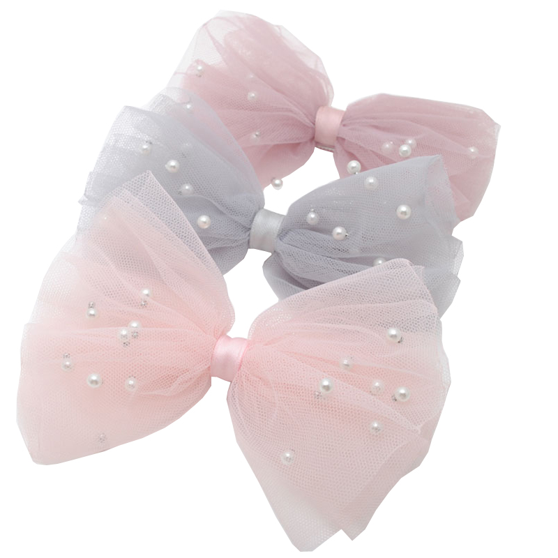 1 Piece 5CM Gauze Hair Clips  Imitation Pearl  Hair Bows Hairpins Lace Bowknot Hairgrips Princess Headwear Hair Accessories