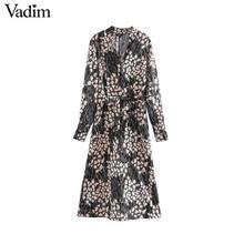 Vadim kadınlar şık V boyun midi elbise uzun kollu papyon sashes yan fermuar kadın şık chic elbiseler düz vestidos QD140