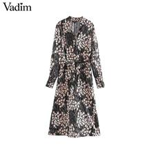 Vadim women chic V neck midi dress long sleeve bow tie sashes side zipper female stylish chic dresses straight vestidos QD140