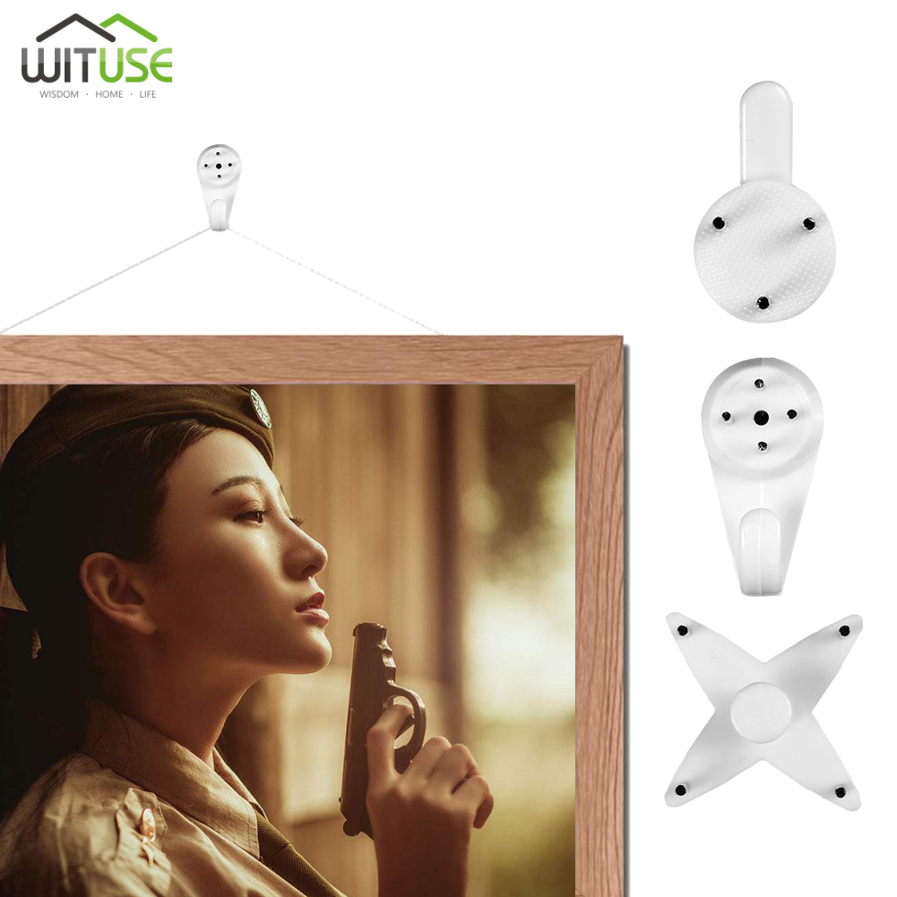 80PCS Hanger Wall Hooks Seamless Nail Hanging Photo Picture Home Decor Multi Function White Mount Clock Frame Plastic Invisibl