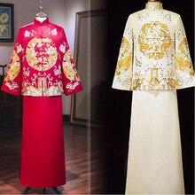 2020 판매 턱시도 결혼식, 2020 새로운 고대 옷, 신랑의 웨딩 드레스, 복고풍 가을과 겨울 용 피닉스 자켓