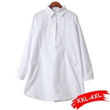 Chemisier court blanc grande taille Xxxl 4Xl, Double poches, manches longues, Haut blanc surdimensionné, chemise longue pour Femme