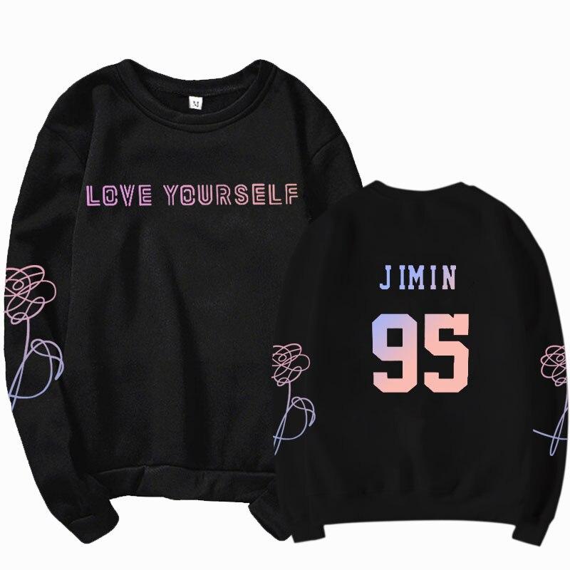 K-pop Bangtan Sonyeondan High Collar Long Sleeve Sweatshirt Jin, Suga, J-Hope, RM, Jimin, V, Jungkook Letter Printed Hoodie