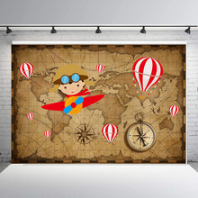 Little Pilot Backdrop Cartoon Aircraft Party Children Birthday Party Photography Background Photo Studio Props baby shower B-926(China)