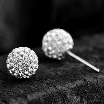 2021 Summer Silver Color Brand Earrings 6/8/10mm Crystal Ball Stud Earrings For Women Fashion Girls Jewelry Gift 2