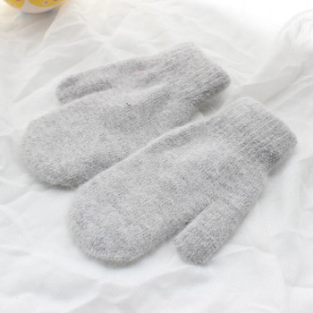 Women Winter Thick Knitted Cashmere Double Layer Plush Wool Knit Warm Mittens Female Cute Full Fingers Gloves image