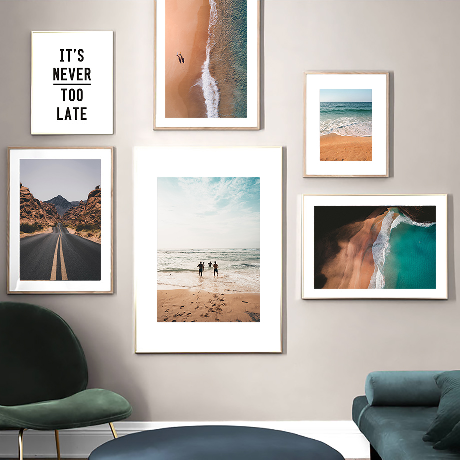 Beach Sea Mountain Boy Highway Wall Art Canvas Painting Nordic Posters And Prints Landscape Pictures For Living Room Decor