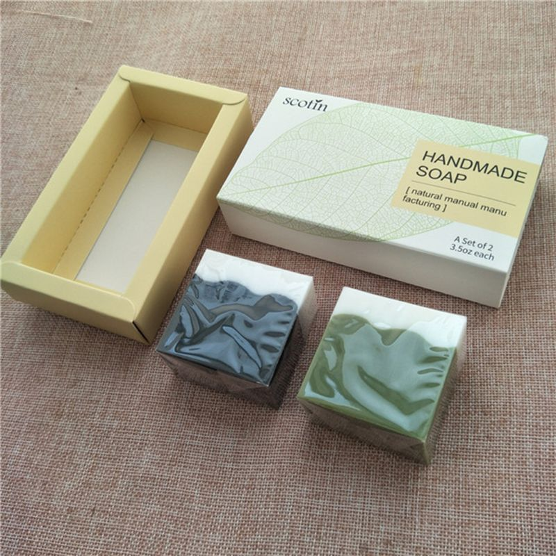 2Pcsx100g Bamboo Charcoal + Matcha Facial Handmade Soap Cleanser Blackhead Remover Acne Treatment Oil Control Whiten Skin Care