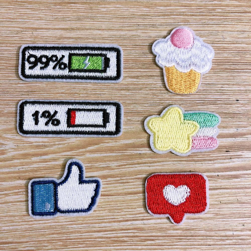10PCS Cute Small Cake Battery Patches Clothing Embroidery Iron On Applique for Kids Bags Dress Clothes Cheap Patchs for DIY