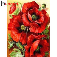 Huacan Diamond Painting Full Square Flowers 5D DIY Diamond Embroidery Mosaic Poppy Home Decor