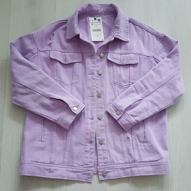 2020 Spring Autumn Purple Oversize Denim Jacket Women Solid Hole Casual Loose Jeans Jackets Coat Female Outwear Tops Veste Femme 2