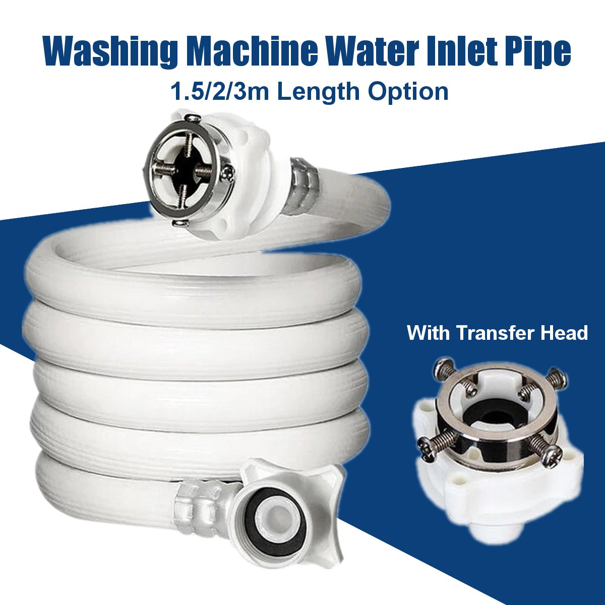PVC Washing Machine Water Inlet Pipe 1.5/2/3m Hose Thicken Water Pipes Extension Tube Universal Parts Fittings Explosion-proof