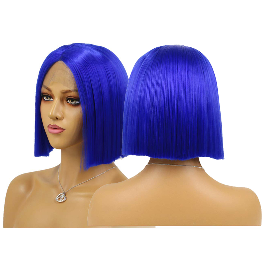 Aimeya Royal Blue Short Hair Wigs Middle Part Synthetic Straight Bob Lace Front Wigs For Women Heat Resistant Fiber Hair Wigs Synthetic None Lace Wigs Aliexpress