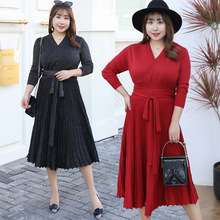 2019 long dress younger sister MM fertilizer  womens French platycodon restoring ancient ways is knitted