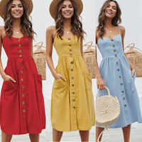 Sexy V Neck Backless Floral Summer Strap Dress Women 2019 White Red Button Sunflower Striped Green Dot Print Party Midi Dresses