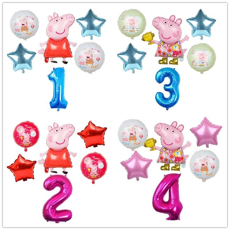 6 шт. с рисунком из мультфильма Свинка Пеппа, Фольга воздушные шары 32 дюймов номер для маленьких мальчиков и девочек гелий Globos Happy День рожден...