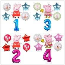 6 pçs dos desenhos animados peppa pig foil balões 32 polegada número do bebê menino menina helium globos feliz aniversário festa quarto decorações crianças brinquedos