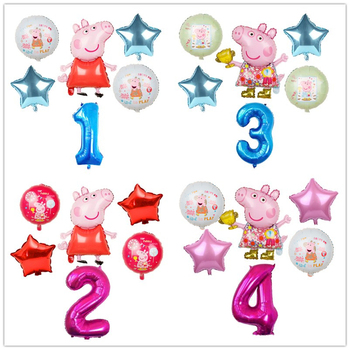 6pcs Cartoon Peppa Pig Foil Balloons 32inch Number Baby Boy Girl Helium Globos Happy Birthday Party Room Decorations Kids Toys happy birthday peppa