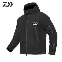 Одежда для рыбалки с капюшоном для мужчин Daiwa Рыболовная куртка осень зима термальный твердый рыболовный костюм мульти-карман на молнии Спорт на открытом воздухе
