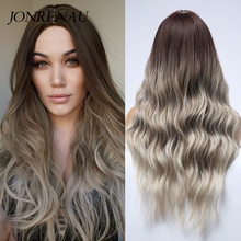 Hair-Wigs Natural-Wave JONRENAU Glueless Wig Heat-Resistant Brown Women Cosplay Synthetic