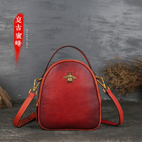 New retro women's handbags handbags leather hand small round hand bill of lading shoulder diagonal women's handbags