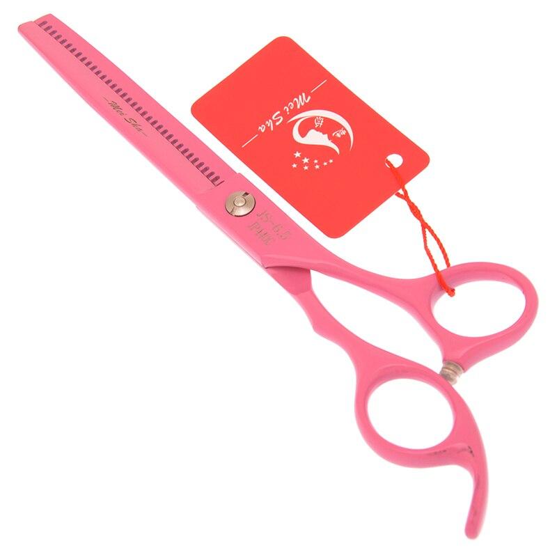 rosa tesouras de desbaste de cabelo conjunto