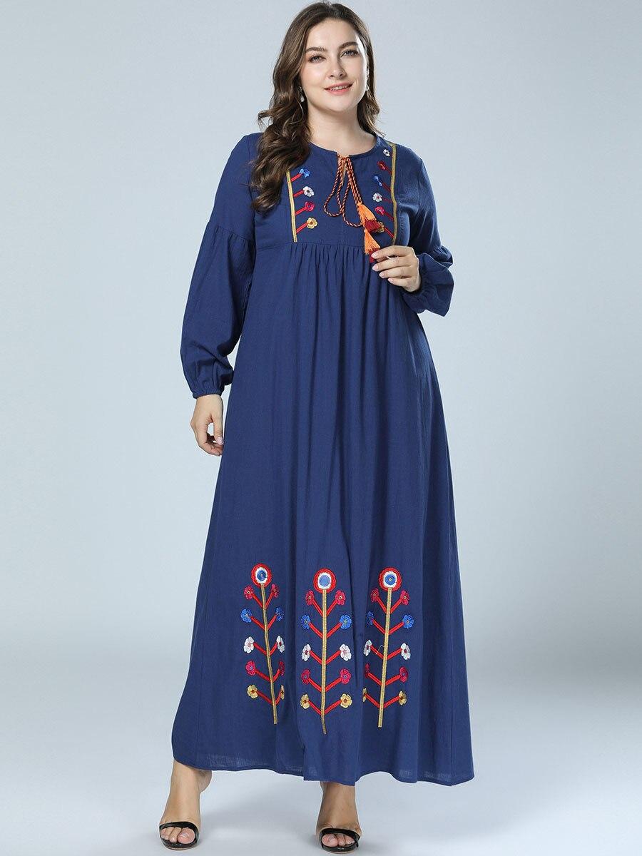 Arab Flower Printed Kebaya Muslim Women Puff-sleeved Long Dresses