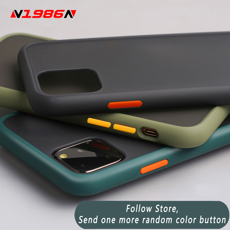 N1986N Phone Case For iPhone 11 Pro X XR XS Max 7 8 Plus Luxury Contrast Color Frame Matte Hard PC Protective For iPhone 11 Case image