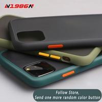 N1986n caso do telefone para o iphone 11 pro x xr xs max 7 8 plus luxo contraste cor quadro fosco duro capa protetora para iphone 11 caso|Estojos encaixados| |  -