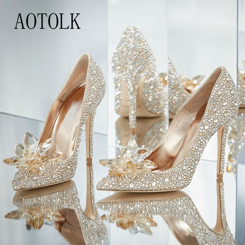 High Heels Wedding Women Shoes Diamond Pumps Cinderella Crystal Shoes Rhinestone Pointed Toe Glitter Party Sliver 2020 New Arriv