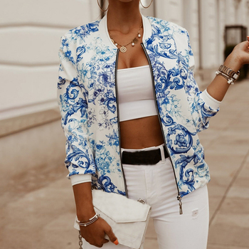 Oversize Printed Jacket Vintage Floral Coat Female Flower Chiffon White Jacket Women Pockets Zipper Long Sleeve Spring 2020 Slim