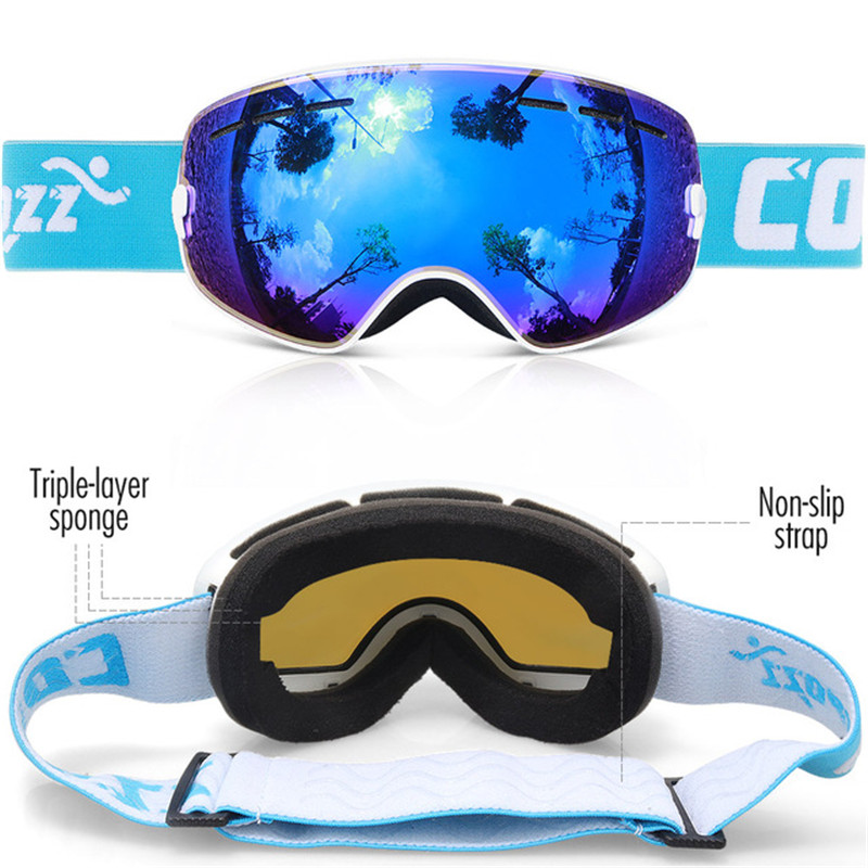 COPOZZ GOG-243 Kids Ski Goggles Double UV400 Anti-fog Snowboard Goggles Small Size Mask Glasses Fit For Children Girls Boys Ski